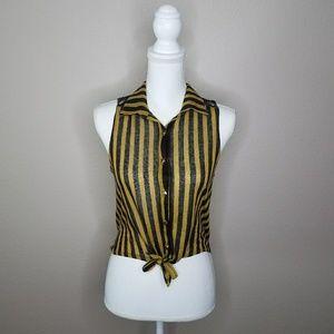 Yellow Black Stripe Sleeveless Blouse Lace Back M